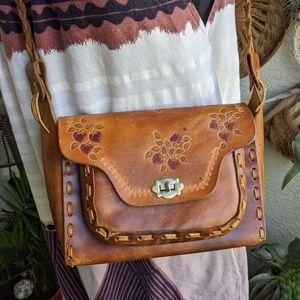 Vintage Tooled Leather Strawberry Fields Handbag